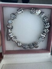 Pandora Bracelet 19cm With 15 Charms & A Safety Chain