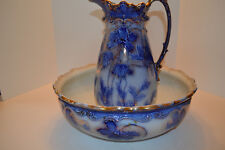 Flow Blue Bowl And Pitcher Matching Set From Scotland Scalloped Gold Rim Antique
