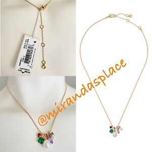 NEW kate spade Gold-Tone Crystal & Imitation Pearl Multi-Charm Pendant Necklace