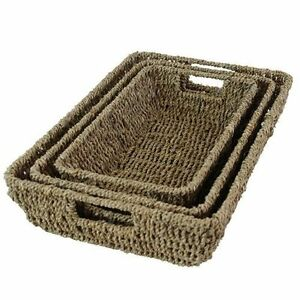 Seagrass Storage Baskets Seagrass Display Basket Trays with Handles