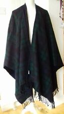 100% LAMBS WOOL LONG, TARTAN FRINGED PONCHO/SHRUG BY JAEGER. NEVER BEEN WORN.