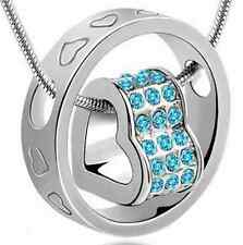 SILVER COLOURED AQUA JEWELLED HEART SHAPE PENDANT (N7) MORE NECKLACES LISTED