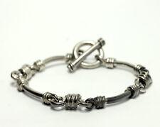"""Vintage Sterling Silver Curved Bar Toggle Bracelet Natural Patina 8.5"""""""