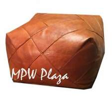 MPW Plaza, ZigZag Pouf, Brown (Un-Stuffed) Moroccan Leather Ottoman