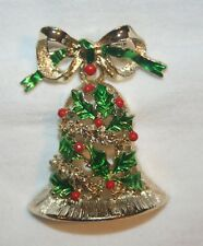 Lovely Gerry's Christmas Bell Dangle Bow Goldtone Brooch Pin
