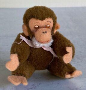 """Vintage Steiff Jointed Miniature Monkey Chimpanzee Plush Mohair 4"""""""