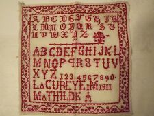 Abécédaire ancien au point de croix rouge daté 1911 signé Mathilde