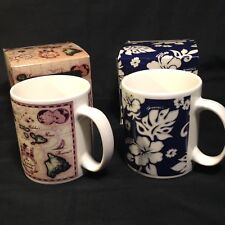 Pair Of Hawaiian Coffee Mugs Island Map Floral Blue ABC Stores