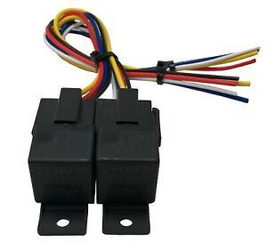 "(2) Beuler 40/60A Waterproof Dual 5 Pin Relay Panel & 12"" Interconnecting Socket"