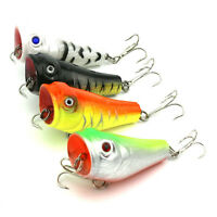 4Pcs Fishing Lures Cabo Big Poppa Popper Sharp Hook Hard Bait 8# Hook