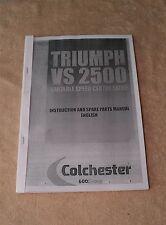 Colchester Triumph VS2500 Lathe Spare Parts List