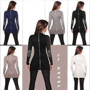 Maglione pullover donna lungo zip strass mix lana&cachemire nuovo #