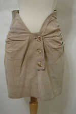 COMME DES GARCONS Beige Suede Ruched Low Dip Front Mini Skirt S