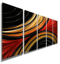 Contemporary Abstract Red Metal Wall Art Decor Sculpture - Solaris by Jon Allen