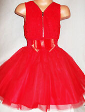 GIRLS RED LACE TULLE CONTRAST ZIP BOW TRIM PRINCESS PAGEANT PARTY DRESS age 5-6