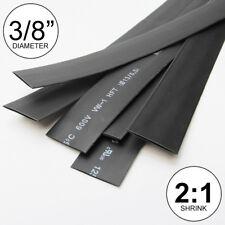 "(4 FEET) 3/8"" Black Heat Shrink Tubing 2:1 Ratio Wrap inch/foot/ft/to U.S.A 10mm"
