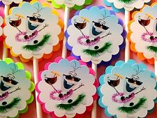 15 DISNEY FROZEN OLAF Cupcake Toppers, Birthday Party Favors, Baby Shower 15