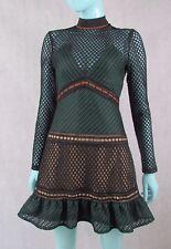 Authentic Self Portrait size 8 UK 4 US Black/Green Lace Detail L/S Dress