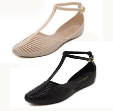 New Womens Flat T-strap Beach Jelly sandals Closed toe Ankle Strap Summer Shoes