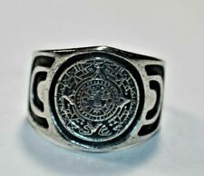 Vtg Mexico Sterling Silver 925 MAYAN Calendar Tribal Wide Men's Band Ring Sz- 10