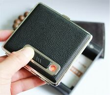 USB Rechargeable Lighter leather Cigarette Case Holder
