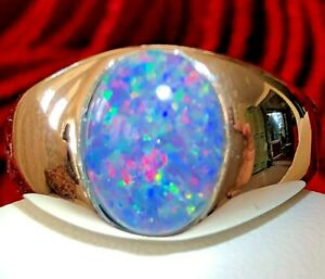 Large 4 carat Solid semi-black red Australian Opal Men's ring 11 Cabochon Signet