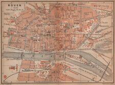 Rouen antique ville city plan de la ville. seine-maritime carte 1900 old map