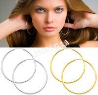 Pair Silver Gold Tone Hinged Hoop Earring Large Hooped Sleeper Dangle Earrings