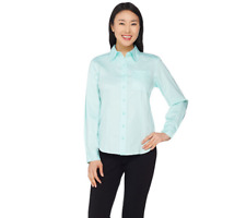 Linea By Louis Dell'Olio Button Front Shirt With Pocket Size M Pale Aqua Color