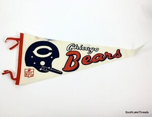 "VTG Chicago Bears Full Size Felt Pennant 12"" inches x 30"" inches Inches White"