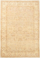 7X10 Hand-Knotted Oushak Carpet Traditional Beige Fine Wool Area Rug D49066