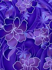 """Hawaiian Print Luau Floral Poly Cotton Fabric 45"""" Hawaii Tribal (2 Yards) Hd"""