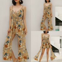 Boho Women Strappy Floral Jumpsuit Ladies Holiday Playsuit Summer Beach Fashion