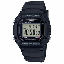 Casio W218H-1AV, 50 Meter WR Chronograph Watch, Alarm, Black Resin, Illuminator