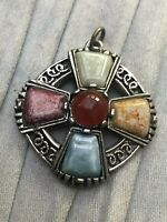 Vintage Celtic Cross Pendant Silver Tone Glass Agate Scottish Scotland Jewellery