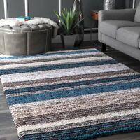 nuLOOM Hand Made Modern Stripe Shaggy Area Rug in Blue, Brown, Beige Multi
