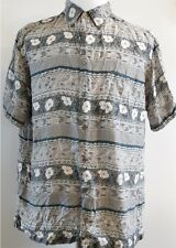 Marc Edwards 100% Silk Gray & Teal Short Sleeve Button-Up Hawaiian Shirt L
