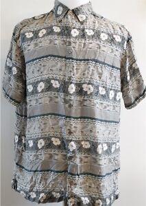 Marc Edwards 100% Silk Gray & Teal Short Sleeve Button-Up Hawaiian Shirt L