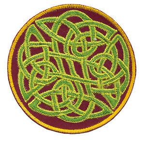 Gestickte Patches Schleife Ohne Fein Runen Grün Buddhistisches Hergestellt Hand