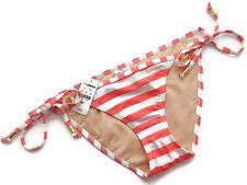 Express Swim Coral and White String Bikini Bathing Suit Bottom Small