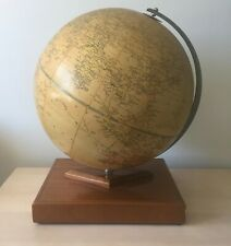 PHILIPS' CHALLENGE GLOBE ~ Art Deco Mahogany Stand with Record Atlas in Base