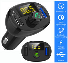 Bluetooth 4.2 Wireless Handsfree Car FM Transmitter MP3 Player QC3.0 USB Charger