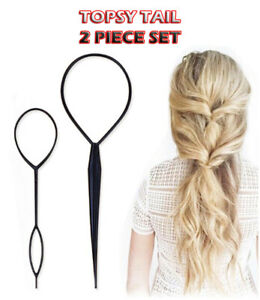 Hair Topsy Tail Magic Braid Pony Maker Clip Tool Style Styling UK Band Bun DIY N