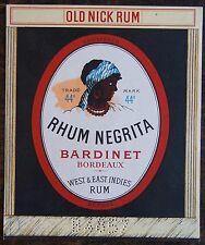 ETIQUETTES RHUM  NEGRITA. Bardinet Bordeaux. Old Nick Rum. Numerotée. Dimensions