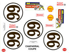 #66 Chaparral Can Am Race Car graphics 1/64th HO Scale Slot Car Decals