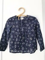 BOPSTER & MIMI Size 7 Navy Blue Anchor Printed Long Sleeve Cotton Girls Blouse