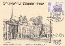 N69 CP Journée du timbre 1988 REIMS transport des depeches place royale IROLLA
