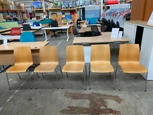 5 X WOODEN STACKING OFFICE MEETING ROOM CHAIRS,  RECEPTION, BREAKOUT