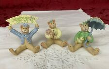 Lot of 3 Spring Kitty Cat Figurines signed Gail West Kitten