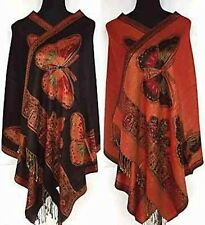 Red black Double-side Butterfly Fancy Cashmere Pashmina Shawl scarf wrap